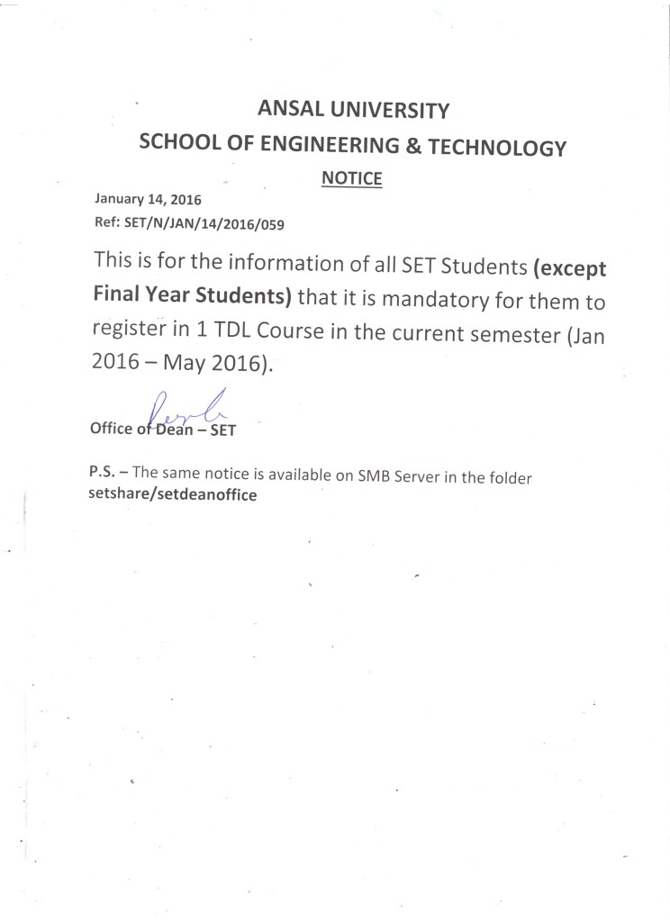 Mandatory to register in one TDL Course in Spring 2016 semester
