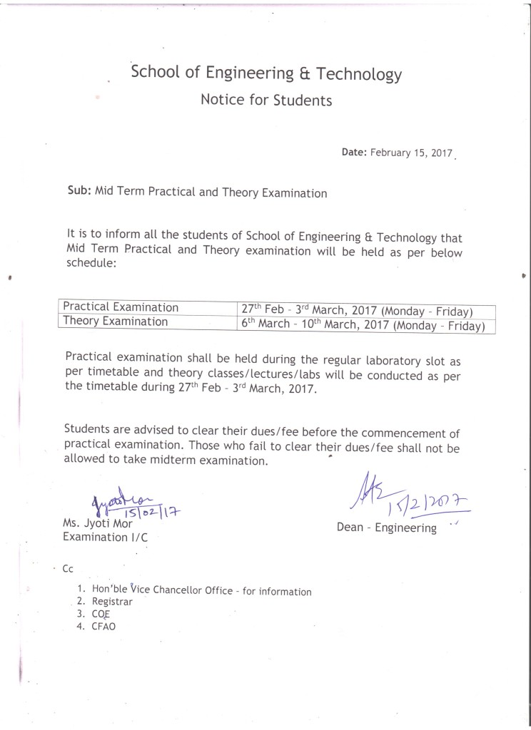 Mid Term Examination Notice