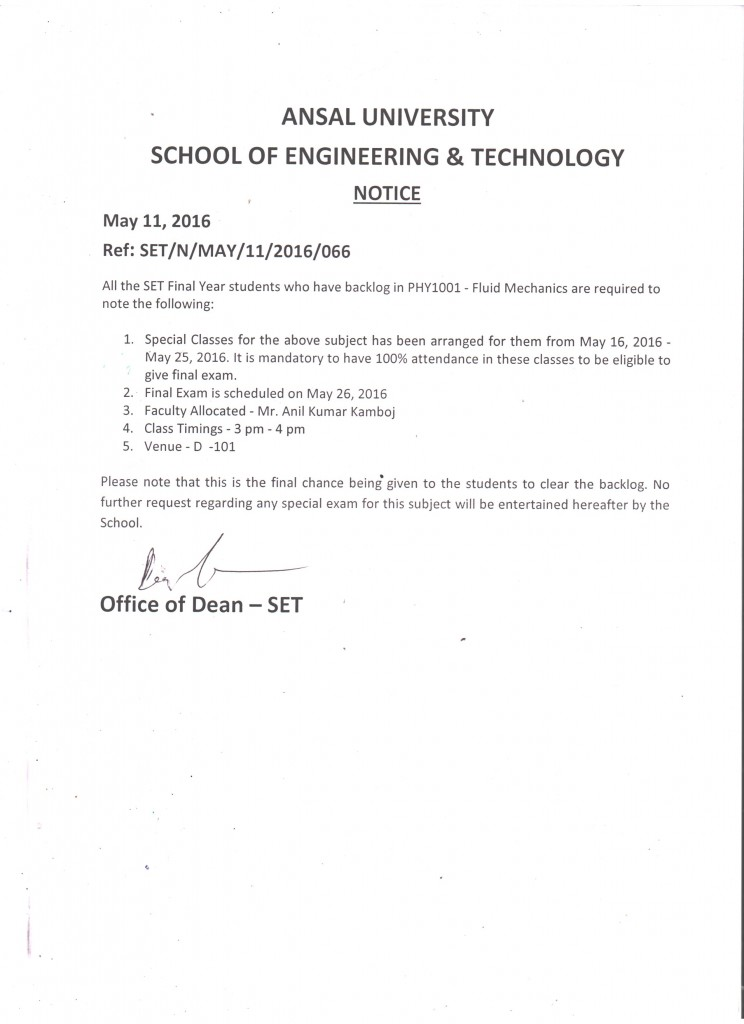 Notice - Special Classes for PHY1001 - Fluid Mechanics