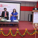Dr. M. P. Poonia (Vice-Chairman, AICTE) delivering the Chief Guest Address at Ansal University